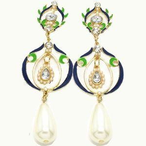 Blue Enamel Pearl Crystal Elegant Drop Earrings